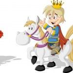 Princess with a prince riding a horse — Stock Vector #76051891