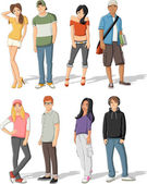 Group of fashion cartoon young people. — Stock Vector