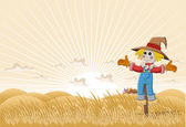 Farm with cartoon scarecrow — Stock Vector
