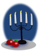 Apples and Christmas Candelabra — Stock Photo