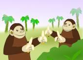Funny Monkeys with Bananas. — Zdjęcie stockowe