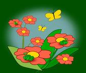 Flowers, Caterpillars and Butterflies — Stock Photo