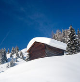 Lonely hunting snowbound lodge — Stock Photo