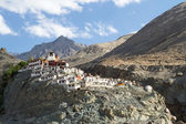 Diskit monastery panorama at sunny day in Nubra valley — Foto Stock