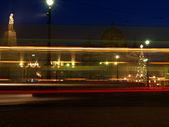 Night tram in Lodz. — Стоковое фото