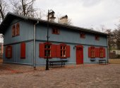 Wooden houses Lodz factory. — Stock Photo