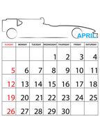 Ilustrace jednoduché 2015 rok kalendáře — Stock vektor