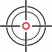 Illustration of a crosshair reticle on a white background — Stock Vector