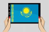 Tablet with flag of Kazakhstan — Stock Vector