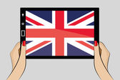 Tablet with flag of United Kingdom — Stock Vector