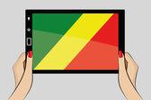 планшет с флагом из конго — Cтоковый вектор