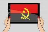 планшет с флагом анголы — Cтоковый вектор
