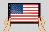 Tablet with flag of United States of America — Stock Vector