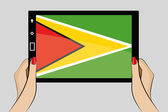 Tablet with flag of Guyana — Stock Vector