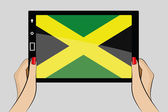 Tablet with flag of Jamaica — Stock Vector