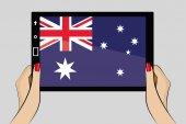 планшет с флагом австралии — Cтоковый вектор
