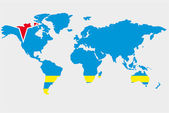 The world with flag of Aruba — Stock Vector
