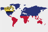 The world with flag of Liechtenstein — Stock Vector