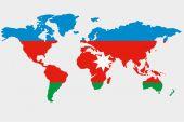 The world with flag of Azerbaijan — Stock Vector