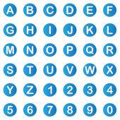 Bleu alphabet 3d avec numéros — Vecteur