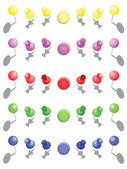Set of push pins in different colors. Thumbtacks. Top view — Stock Vector