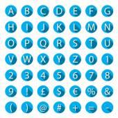 Flat A-Z Alphabet Icon Set with long shadows — Stock Vector