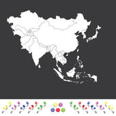 Outline on clean background of the continent of Asia — Stock Vector