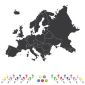 Outline on clean background of the continent of Europe — Stock Vector