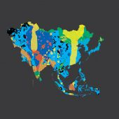 Illustration of a colourfully filled outline of Asia — Stock Photo
