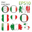 Italy Flag Map Pack — Stock Vector #53827669