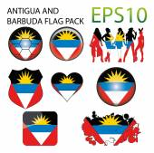 Antigua and Barbuda Flag Map Pack — Stock Vector