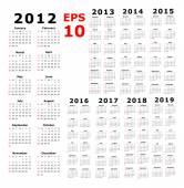 Calendar - 2012 - 2019 - Basic — Stock Vector