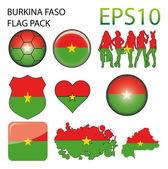 Burkina Faso Flag Map Pack — Stock Vector