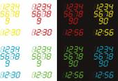 Digital Clock in Various Colours — Stock vektor