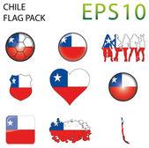 Drapeau du Chili Carte pack — Vecteur