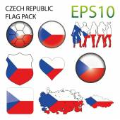 Czech Republic Flag Map Pack — Stock Vector