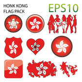 Honk Kong Flag Map Pack — Stock Vector
