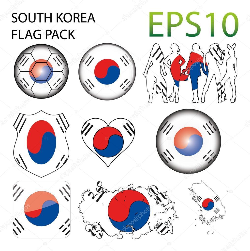 韩国国旗地图包 — 图库矢量图像08