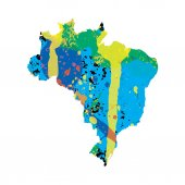 Colourfully filled outline of Brazil — Stock Vector