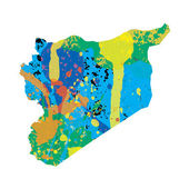 Illustration of a colourfully filled outline of Syria — Stok Vektör