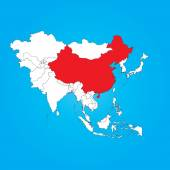 Map of Asia with a selected country of China — Stock Photo