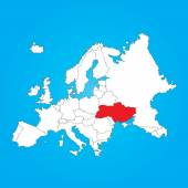 Map of Europe with a selected country ofUkraine — Stock Photo