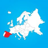 Map of Europe with a selected country ofSpain — Stock Photo