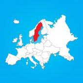 Map of Europe with a selected country ofSweden — Stock Photo