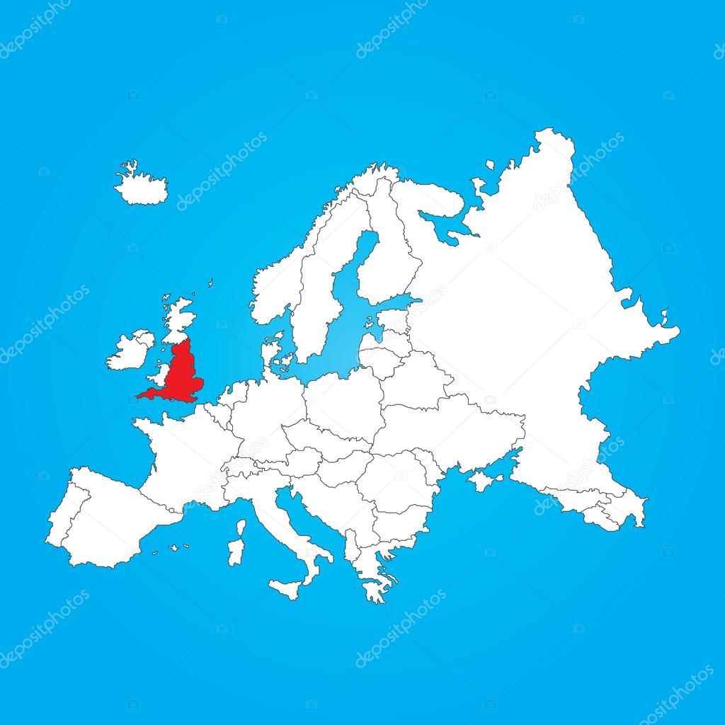 所选的国家英格兰的欧洲地图