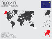 Set of Infographic Elements for the Country of Alaska — ストックベクタ