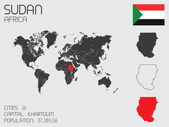 Set of Infographic Elements for the Country of Sudan — Stockvector
