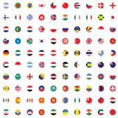 Illustrated Set of World Flags - Round — Stock Vector
