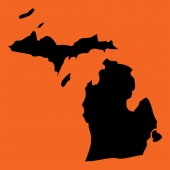 Illustration on an Orange background of Michigan — Stock Photo
