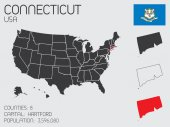 Set of Infographic Elements for the State of Connecticut — Stock Photo